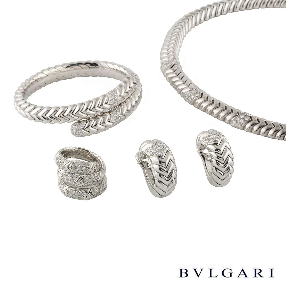 Bvlgari White Gold Spiga Diamond Jewellery Suite